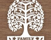 Custom, Leaf Family Tree for 7 (seven family members) PDF SVG (Commercial Use) Instant Download Digital Papercut Template