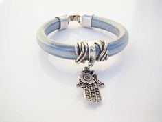 Sales & orders: 4me.bijuteria@gmail.com    Silver leather bracelet with Fatima hand | Refª PMF001 - 14€