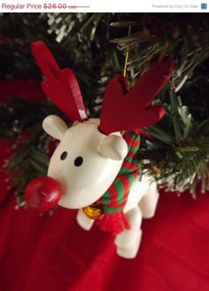 2 Vintage 80s Christmas Holiday Avon Ornaments Belvedeer Reindeer and Snowman by ForsythiaHill
