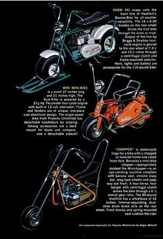 mini bikes Vintage Bikes, Vintage Motorcycles, Vintage Ads, Motorcycle Wheels, Mini Motorbike, Mini Chopper, Pit Bike, Go Kart, Kustom