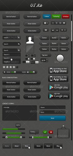 Dark & Shiny UI Kit  #GraphicRiver         Dark & Shiny UI Kit,   The Dark & Shiny UI Kit design is professional and modern. PSD has been layered, named and organised properly. You can re-size the boxes to whatever extent you want as these are made of only shape layers.   Font Used in Dark & Shiny UI Kit  - Gudea  .google /fonts/specimen/Gudea - Damion  .google /fonts/specimen/Damion   both are google web fonts     Created: 15April13 GraphicsFilesIncluded: PhotoshopPSD HighResolution…