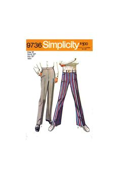 Men's Jean-Cut Bell-Bottom Pants or Straight Leg Tailored Trousers Size cm Waist, Simplicity 9736 Sewing Pattern Reproduction Bell Bottom Pants, Bell Bottoms, Retro Men, Tailored Trousers, Straight Leg Pants, Vintage Sewing Patterns, Fashion Pants, Flare Jeans, Pajama Pants