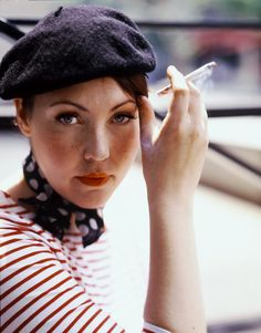 beret, striped T and polka dot scarf  CheatOnGreek  Contest Cafe Em Paris, 22525cdd925