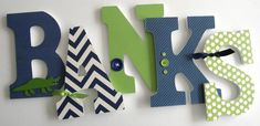 Custom Decorated Wooden Letters NAVY & GREEN Theme Nursery Bedroom Home Décor, Wall Decorations, Wood Letters, Personalized