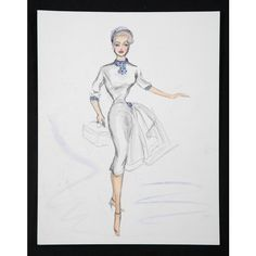 SIX EDITH HEAD COSTUME SKETCHES - Price Estimate: $200 - $400 ❤ liked on Polyvore
