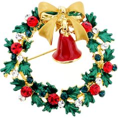 Christmas Wreath with Bell Swarovski Crystal Pin Brooch - Fantasyard Costume Jewelry & Accessories