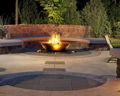 Transitional Exterior | Modern Fire Pit | Stone Pavers | Backyard Ideas