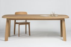 Stone table L210 cm + chair, design Sylvain Willenz for Quodes