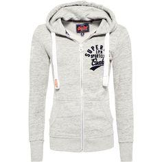 Superdry Osaka Sportclub Zip Hoodie ($68) ❤ liked on Polyvore featuring tops, hoodies, grey, women, hooded zip up sweatshirt, gray hoodie, cotton hoodies, cotton hooded sweatshirt and grey hoodie