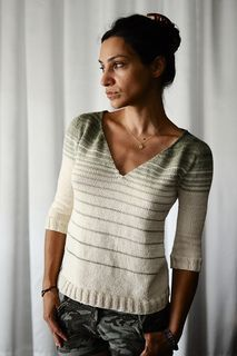 rillie's Absolutely Perfect Stripey Lounge Top knit using Ambiente pattern by Astrid Schramm - free Ravelry pattern