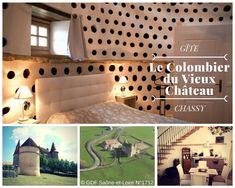 Dépaysement garanti pour le gîte du Colombier du château à Chassy avec vue imprenable sur la campagne et le château.