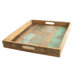 Serving tray made from scrapwood. Sturdy design with upright edges. Our scrapwood collection is made from old and recycled wood from India. The pieces of wood still have the original paint, what makes every item uniqu Vintage Furniture, Cool Furniture, Furniture Refinishing, Square Tray, Retro Pop, Wood Sizes, Dinner Sets, Vintage Market, Recycled Wood
