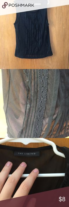 Sheer black tank top In perfect condition! Black. Sheer. Size S. Unfair price?? Make me an offer  The Limited Tops Tank Tops