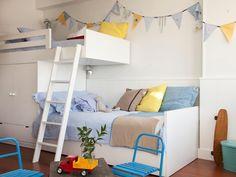 mommo design: BUNKS with storage Kid Beds, Bunk Beds, Loft Beds, Boy Room, Kids Room, Casa Kids, Ideas Dormitorios, Boys Room Design, Kb Homes