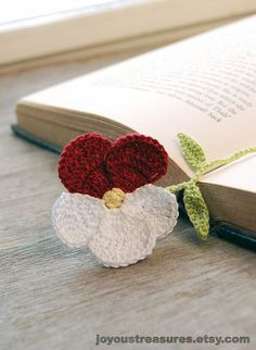 Handmade Bookmark Crochet Pansy Flower Red and by joyoustreasures, $15.00.