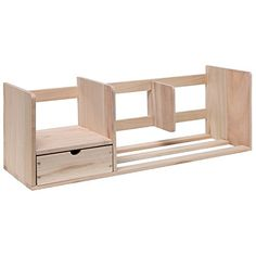 MyGift Wooden Bookshelf / Desk Top Supply Organizer Caddy / Utility Storage Shelf Rack w/ Drawer – Beige