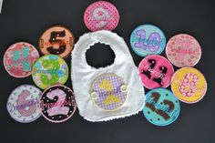 Baby's Monthly Milestone Chenille Baby Bib  by PicklenoseCreations, $65.00