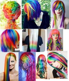 Rainbow colored hair has been tickling our colors fancy as of late. While unicorn and mermaid colored hues may look irresistible. Before you start coloring your hair with rainbow hair color Funky Hairstyles, Pretty Hairstyles, Hairstyle Men, Layered Hairstyles, Formal Hairstyles, Pelo Multicolor, Coiffure Hair, Mode Kawaii, Crazy Hair Days