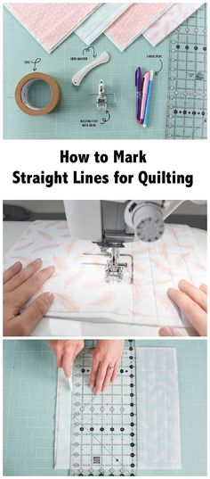 HOW TO MARK STRAIGHT LINES FOR QUILTING. If stitching straight lines on your quilt intimidates you, we can help! Learn 4 ways to mark lines for straight line quilting with a walking foot. Quilting tips and tricks and tutorials on Craftsy. Sponsored post.