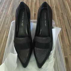 Stylish black pointy toe loafers Pointed toe, faux snake-skin detailed black leather loafers. Ivanka Trump Shoes Flats & Loafers