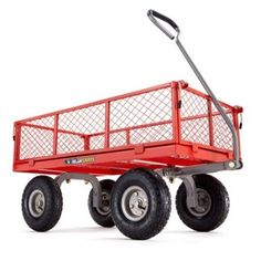 "Red Gorilla Garden Utility Cart W/ 10"" Tires Weight Cap 800lbs Makes Jobs Easier #GorillaCarts"