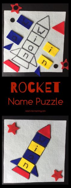 334 best name activities for preschool images on pinterest felt rocket name puzzle m4hsunfo