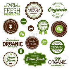 "Buy Organic food labels by emberstudio on GraphicRiver. Set of organic and ""farm fresh"" food labels and badges. Logo Design, Label Design, Jar Design, Booth Design, Farm Font, Fitness Logo, Benefits Of Organic Food, Organic Chicken, Logo Food"