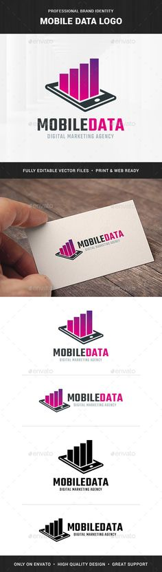 The Mobile Data Logo Template A modern and effective logo design featuring a mobile phone with graph bars. All elements are fully #SmartphoneLogo