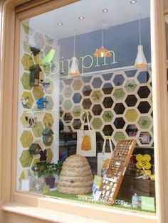 Bee window in Edinburgh, Scotland.