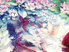 rain_drops-ame, D.Gray-man, Yuu Kanda, Underwater, Lotus (Flower)