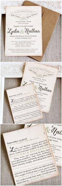 Story Book  Library themed Wedding Invitation   Sunshine and Ravioli #weddinginvitation