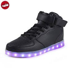 (Present:kleines Handtuch)High Top mit Velcro Schwarz 36 EU für Sneaker Schuhe mode Aufladen JUNGLEST Unisex-Erwachsene Farbe LED Leuchtend Damen 7 Turnschu ia3zOWO