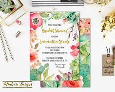 Watercolor Desert Chic Cactus, Succulent, Vibrant Floral Bridal Shower - Baby Shower - Birthday Party Invitation (Gold Foil) DIGITAL FILE by montrosedesigns on Etsy https://www.etsy.com/listing/268666145/watercolor-desert-chic-cactus-succulent
