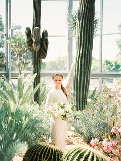 The lush greenery and captivating cacti at The Greenhouse at Driftwood made a powerful statement in this styled greenhouse bridal shoot photographed by Ashley Bosnick Photography. This serene and natural shoot inspired by all the scenery the Hill Country has to offer and styled by 36th Street Events grabbed our attention right away. Enjoy! #ashleybosnickphotography #36thstreetevent #thegreenhouseatdriftwood