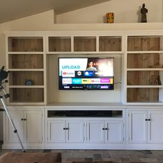 Bookcase Tv Stand, Built In Bookcase, Built In Tv Cabinet, China Cabinet, Bookshelves With Tv, Bookcases, Built In Shelves Living Room, Living Room Wall Units, Tv Built In