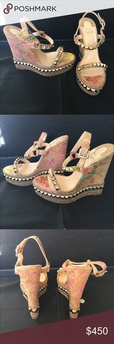 """Christian Louboutin cork wedges """"Cataclou"""" Christian Louboutin cork wedges in great condition. """"Cataclou"""" 140 Cork Blooming, multi/Light Gold. With box and bags. Super cute for summer. Great multi color patterning with gold accents. Christian Louboutin Shoes Wedges"""