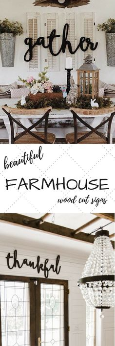 Feather and Birch Shop {Etsy} || These words are perfect for your mantel, kitchen, living room, or on your porch or patio. Stained, painted or unfinished for a wonderful look. GORGEOUS signs, perfect for any home. #rustichomedecor #farmhousedecor #farmhousesigns #fixerupper #fixerupperdecor
