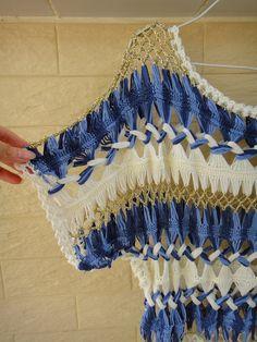 Denim Blue Womens Crochet Top Kimono Sleeve por Tinacrochetstudio