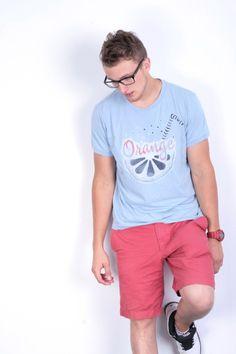 Boss Orange Mens XL Shirt Crew Neck Blue Cotton Summer Short Sleeve
