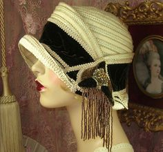 """""""DO NOT PURCHASE: SOLD TO SUE"""" BROWN, CREAM & TAUPE BEADED CLOCHE FLAPPER HAT #PatriciaJosephineAntiqueStyleDesign #Cloche"""