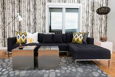 An example of Judith Mackin's interior design work at a residence in Quispamsis, N. Mango, Interior Design Work, Living Room Modern, Living Rooms, Coffee Table With Storage, Bronze, Modern Design, Family Room, Contemporary