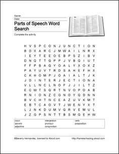 Parts of Speech Word Search, Crossword Puzzle, and More: Parts of Speech Word Search