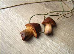 Mushroom pendant avocado stone carving natural by coobicoobi