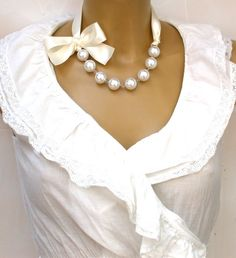 Diy Fashion Accessories Necklace Cream Ribbons Diy Necklaces