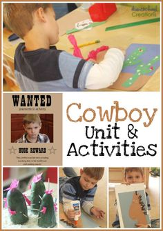 From the moment we started this week of Cowboys, there have been four gun-toting, bandana wearing, {rain} boot wearing cowboys running around my house and Preschool Lesson Plans, Preschool Curriculum, Preschool Themes, Preschool Activities, Kindergarten Learning, Preschool Printables, Preschool Classroom, Homeschooling, Wild West Activities