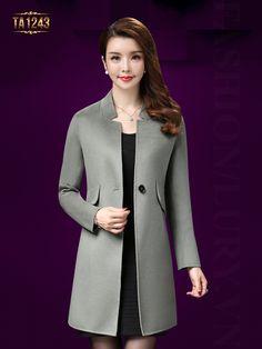 Thời trang áo khoác dạ mới một cúc túi chéo thời thượng TA1243