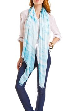 Hand Tie-Dye Scarf  Lightweight hand tie-dye scarf with thin fringe trim on the ends. Can be worn as a scarf, sarong, shawl, head warp or a belt around your favorite shorts or jeans. Silky soft. Treat your self to one or all 12 colors.      Measures: 64'' X 27''   Hand Tie-Dye Scarf by Violet Del Mar. Accessories - Scarves & Wraps San Diego, California
