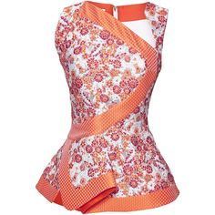 Antonio Berardi Orange And Dusty Pink Peplum Top (9.260 BRL) ❤ liked on Polyvore featuring tops, pink floral top, orange peplum top, orange top, red sleeveless top and sleeveless tops