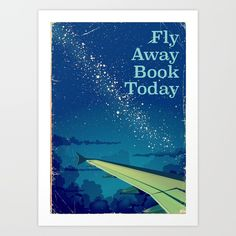 Fly Away Book Today vintage flight poster art,