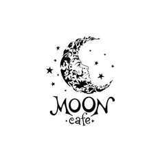 Moon cafe logo by Andrew Horov Start Logo, Moon Cafe, Draw Logo, Logo Design Examples, Graphic Design, Moon Logo, Vintage Moon, Cafe Logo, Kids Logo